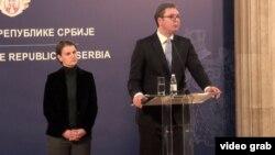 Arhiva - Predsednik Srbije Aleksandar Vučić drži konferenciju za novinare sa premijerkom Anom Brnabić.