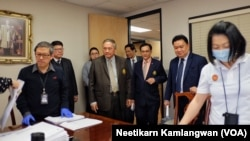 Members of Election Commission of Thailand and Deputy Permanent Secretary, Ministry of foreign Affairs monitoring the process of shipping the election ballot for the upcoming Thai Election. (March 1, 2019.)