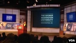 美国国家安全顾问苏珊·赖斯在乔治华盛顿大学发表美中关系讲话(美国之音海伦拍摄)