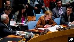 La embajadora de EE.UU. en ONU, Samantha Power, discute este lunes en el Consejo de Seguridad la situación en Siria.
