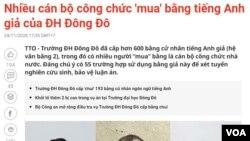 Bản tin về bằng giả được đăng trên báo chí trong nước. (Hình: Trích xuất từ tuoitre.vn)