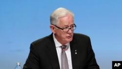 時任澳大利亞貿易部長的安德魯•羅布在新西蘭奧克蘭簽署跨太平洋伙伴關係協定時參加記者會。(2016年2月4日)
