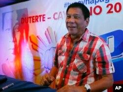 菲律宾南部的达沃市的市长杜特尔特(2016年5月9日)