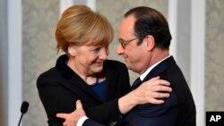 Le président français François Hollande et la chancelière allemande Angela Merkel à Minsk and février 2015