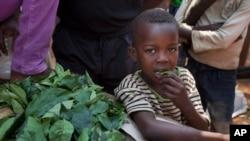 Un enfant mange des feuilles au marché de Bimbo dans la prériphérie de Bangui, République Centrafricaine, 1er janvier 2013.