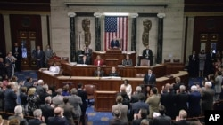 "In this image from House Television video, House Speaker Paul Ryan addresses a hushed and packed chamber hours after the shooting of Representative Steve Scalise, June 14, 2017, Ryan said, ""We are united in our anguish. An attack on one of us is an attack on all of us."""