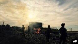 2015年12月27日伊拉克安全部隊進入受重創的拉馬迪市。