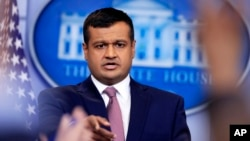 White House deputy press secretary Raj Shah speaks during the daily press briefing in the Brady press briefing room at the White House, in Washington, Feb. 8, 2018.