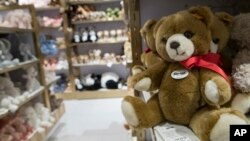 In this Tuesday, Nov. 13, 2018 photo, Steiff teddy bears are on display during a media preview of the new FAO Schwarz store at Rockefeller Center in New York. (AP Photo/Mary Altaffer)