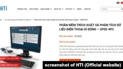 Trang web của HTI ở Việt Nam giới thiệu về phần mềm UFED của hãng Cellebrite, Israel.