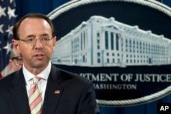 FILE - Deputy Attorney General Rod Rosenstein speaks during a news conference in Washington, Nov. 28, 2018.