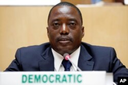 FILE - DRC President Joseph Kabila is pictured at a meeting at African Union headquarters in Addis Ababa, Ethiopia, Feb. 24, 2013.