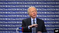 "FILE - Sen. Joseph Lieberman, I-Conn., speaks on CBS's ""Face the Nation"" in Washington, April 22, 2012."
