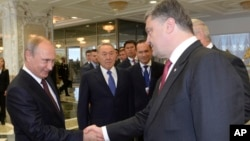 2014年8月26日俄罗斯总统普京(左)和乌克兰总统波罗申科握手(资料照片)