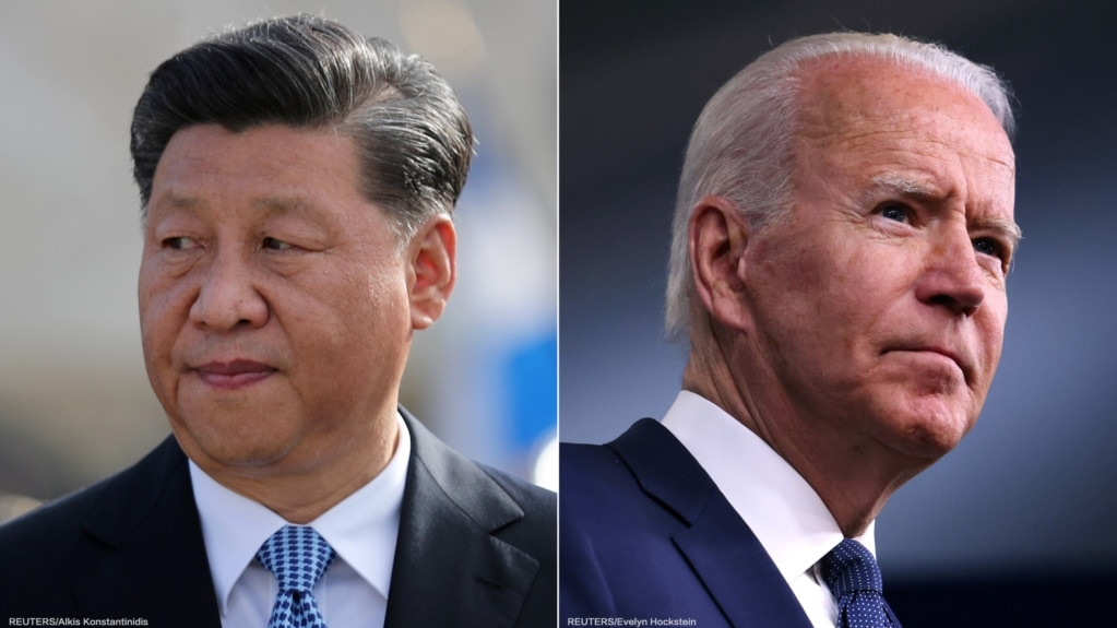 Tổng thống Mỹ Joe Biden (phải), Chủ tịch Trung Quốc Tập Cận Bình (trái) điện đàm hôm 9/9/2021.