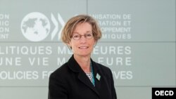 FILE - OECD Chief Economist Catherine Mann