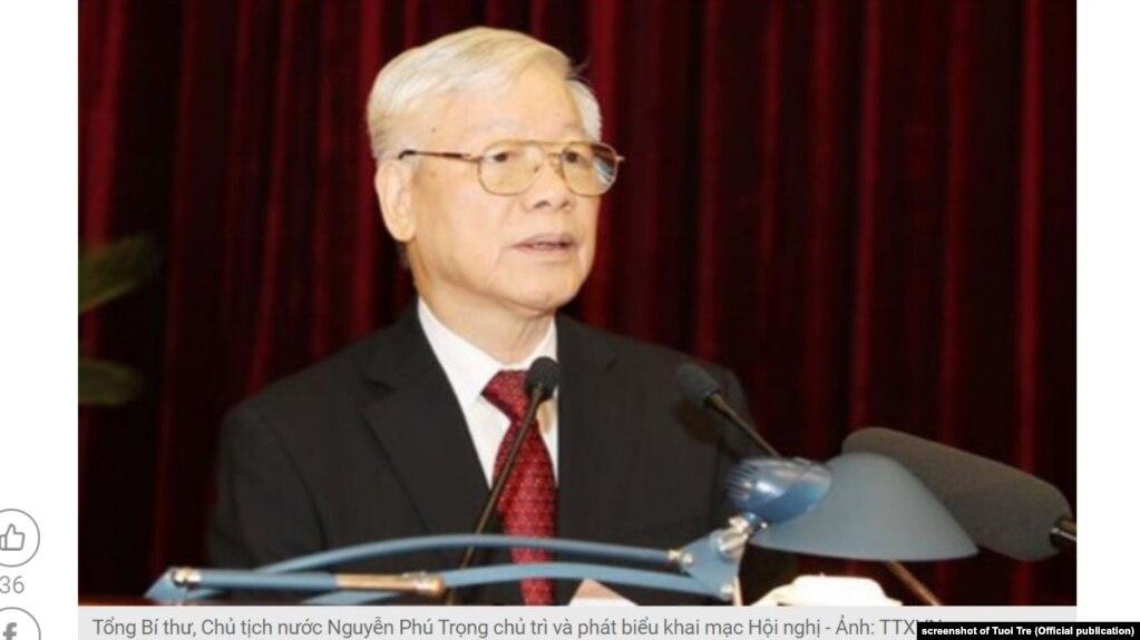 Tổng bí thư, Chủ tịch nước Nguyễn Phú Trọng tại một hội nghị vào tháng 19/2019.