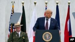 特朗普總統在93號航班國家紀念園發表講話。 (2020年9月11日)