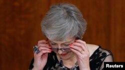Premye Minis Britanik Theresa May Kap pwononse yon diskou nan vil Lond. Reuters ?Henry Nicholls