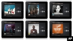 Spotify shows music artwork displayed on its mobile app.