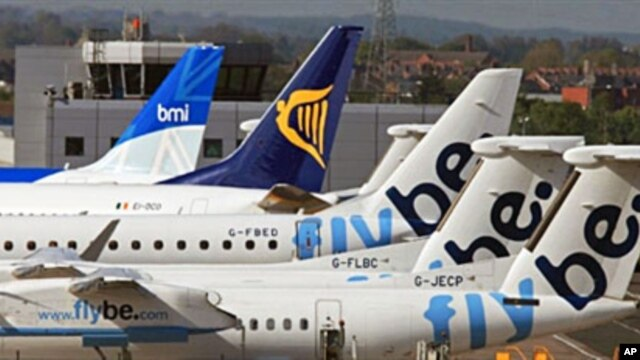 Grounded aircraft at Belfast City Airport, Northern Ireland, 17 May 2010