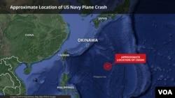 Lokasi jatuhnya pesawat twin-propeller C2-A Greyhound di sekitar 925 kilometer tenggara Okinawa, Jepang, 22 November 2017.