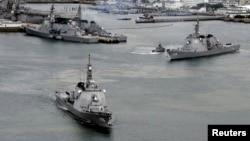 지난 2012년 일본 남부 사세보 항에 자위대 함대가 정박해 있다.(자료사진)