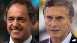 FILES - This combo shows Argentina's presidential candidates, from left, Daniel Scioli and Mauricio Macri. Macri has a more-than eight-point lead over his ruling party rival with 11 days until the run-off vote, a poll showed on Nov. 11, 2015.