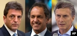 FILE - This combo of three file photos taken in Buenos Aires, Argentina, shows three presidential candidates, from left, Sergio Massa; Buenos Aires' Governor Daniel Scioli; and Mauricio Macri.