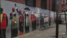 Radebe paints murals, such as this one at the Noord Street taxi rank in central Johannesburg  (S. Radebe)