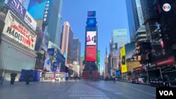Kawasan Time Square, New York terlihat lengang akibat wabah virus corona. (Photo: Ronen Suarc/ dok)