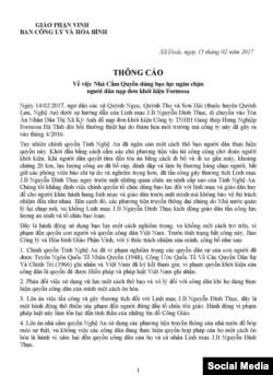 Thông báo của Giáo phận Vinh về việc chính quyền dùng bạo lực ngăn chặn đoàn nộp đơn kiện Formosa