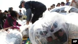 Các nhà hoạt động chuẩn bị thả các bong bóng mang truyền đơn và DVD sang Bắc Triều Tiên.