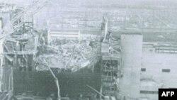 Urušeni krov nuklearnog reaktora u elektrani Černobil, u kome je došlo do topljenja jezgra