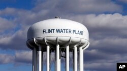 The Flint Water Plant water tower is seen in Flint, Michigan, March 21, 2016. The EPA awarded $100 million to upgrade Flint's drinking water infrastructure, March 17, 2017.