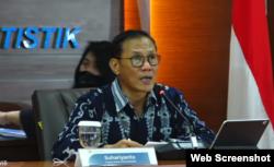 Kepala BPS Suhariyanto saat memberikan keterangan pers secara daring, Jumat, 5 Februari 2021. (Foto: VOA)