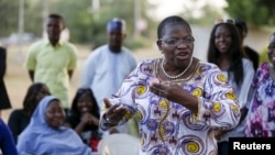 Dr. Oby Ezekwesili expresses support about the rescue of some women and girls from Sambisa forest while a Nigerian protest group continues their sit-in about the girls that are still missing from Chibok, in Abuja, Nigeria, April 29, 2015.