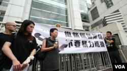 香港记者协会抗议大陆当局打压采访 (美国之音记者黎堡 资料照片)