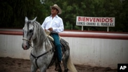 "FILE - This June 7, 2015 file photo shows Jaime Rodriguez, known as ""El Bronco,"" then an independent candidate for governor, on his horse, in Villa de Garcia, Mexico. Mexico's top electoral court has ordered on Tuesday, April 10, 2018, that Rodriguez be added to the ballot for the July 1, 2018, presidential election."