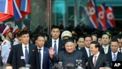 金正恩2019年2月26日乘专列抵达越南(美联社)