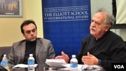 O καθηγητής Οικονομικών Κώστας Βεργόπουλος (δεξιά) με τον καθηγητή Πολιτικών Επιστημών του πανεπιστημίου George Washington, Χάρη Μυλωνά (αριστερά)
