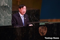 지난 13일 미국 뉴욕 유엔본부에서 열린 유엔총회에서 '2018 평창올림픽 휴전 결의안'이 채택됐다. 한국 정부대표단으로 참가한 이희범 조직위원장이 기조연설을 하고 있다.
