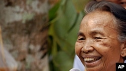 Former Khmer Rouge district chief Im Chaem tells a reconciliation meeting of former cadres and the group's victims in Anlong Veng, Cambodia that the Khmer Rouge in the town want no further prosecutions of its members, 09 Apr 2010