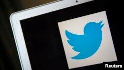 FILE - A portrait of the Twitter logo in Ventura, California.