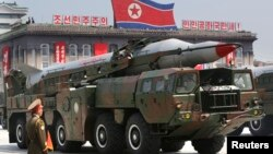 FILE - A mobile North Korean missile during a parade in Pyongyang July 27, 2013.