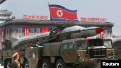 Phi đạn Bắc Triều Tiên trong một cuộc diễu hành quân sự ở Bình Nhưỡng.
