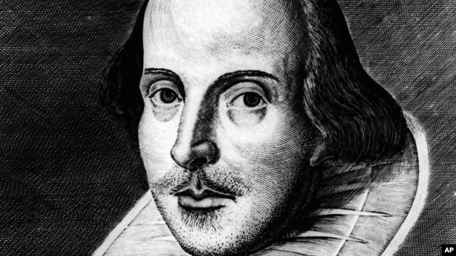 The famed Martin Droeshout engraving of William Shakespeare, printed on the cover of Shakespeare's first Folio, or first complete collection of his plays, printed in 1623.