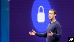 FILE - Facebook CEO Mark Zuckerberg makes the keynote speech at F8, Facebook's developer conference, May 1, 2018, in San Jose, Calif.