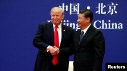 川普與習近平11月9日與商界領袖在人民大會堂會晤。