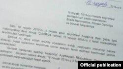 Bakı meriyasının ADR Hırıkatına cavab məktubu